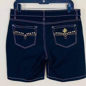 Southpole Black Stretchy Embellished Denim Shorts